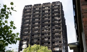 The wreckage of the Grenfell Tower in London following the devastating fire in June.