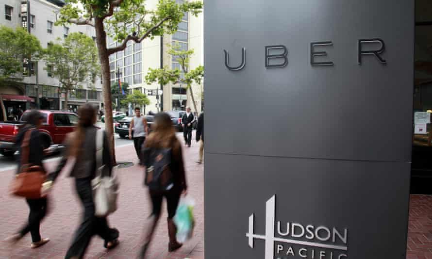 Uber's San Francisco offices were the site of a protest against Donald Trump.