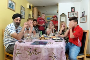 Morocco football fan Mohammed Essakhi (in cap) with friends and family in Letchworth, 15 June 2018