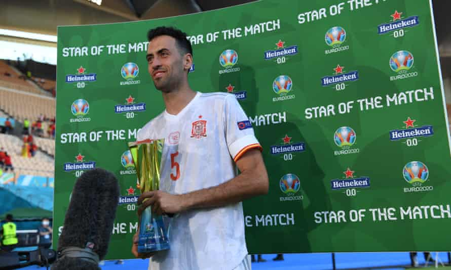 Sergio Busquets was man of the match in the win against Slovakia, his first game back since his Covid diagnosis.
