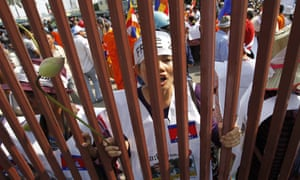 Cambodian garment workers and human rights activists at a rally in Phnom Penh