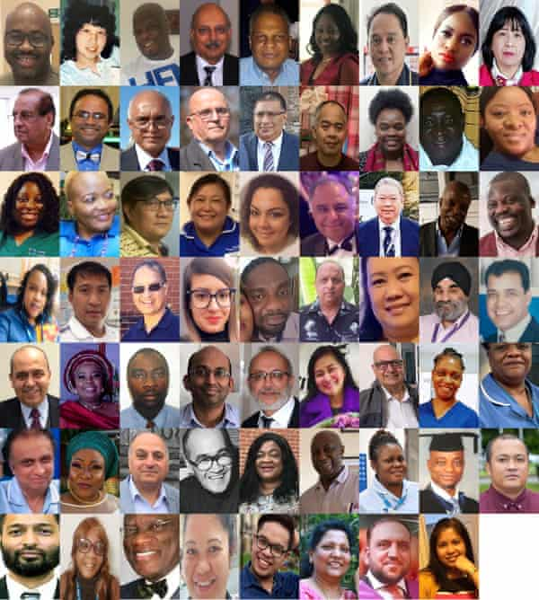 Composite file photos of some of the BAME healthcare staff who have died during the UK's Covid-19 pandemic.