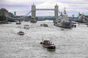 Yorkshire Rose is towed down the Thames