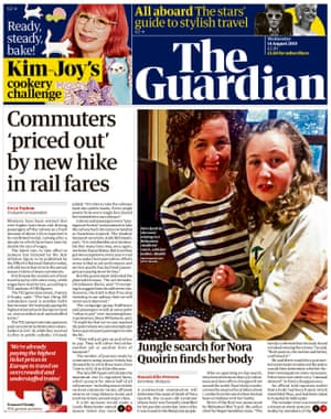 Guardian front page, Wednesday 14 August 2019
