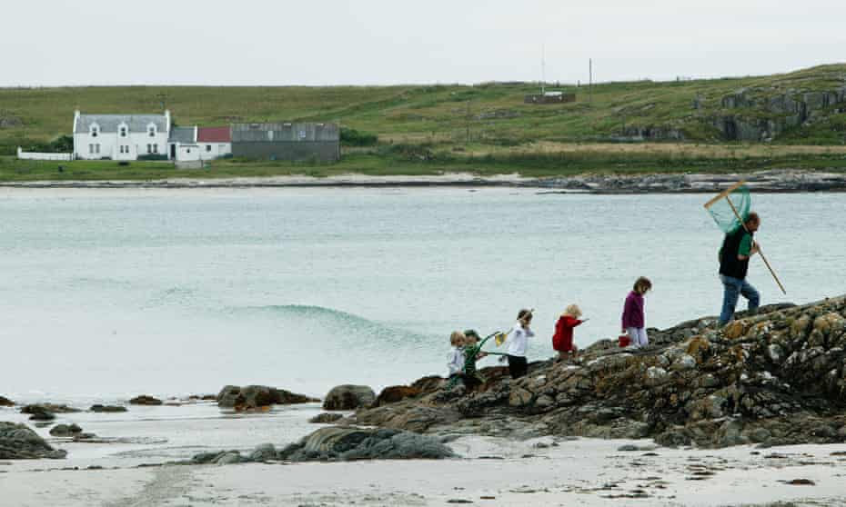 Alex Renton and extended family foraging on Tiree.