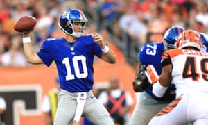 Manning throws a pass during the Giants' pre-season game against the Bengals.