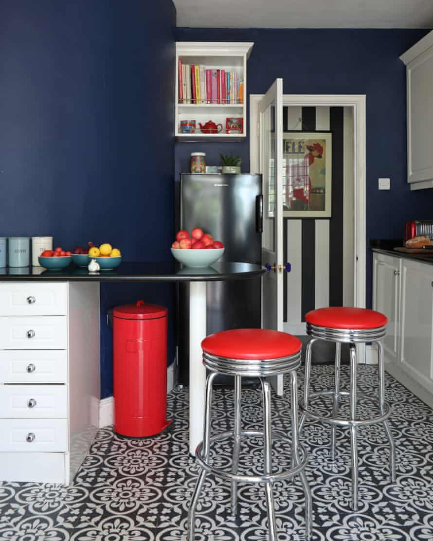 Inner visions: the compact kitchen, with its bold tones.