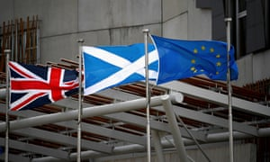 The flags of the UK, Scotland and the EU outside the Scottish parliament.