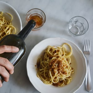 Spaghetti with breadcrumbs and anchovies from TWO KITCHENS by Rachel Roddy, published by Headline Home 2017.