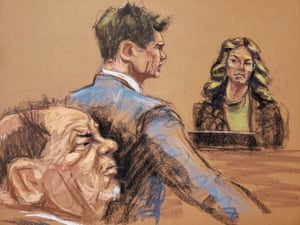Lauren Young is questioned by attorney Damon Cheronis as Harvey Weinstein watches on, in this courtroom sketch.