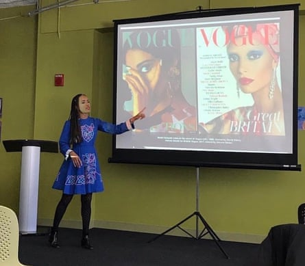 Jenkins giving a lecture that juxtaposes two historically relevant covers of Vogue.