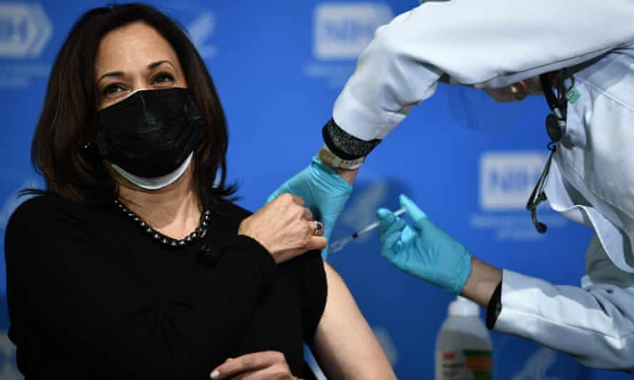 US vice president Kamala Harris receives her second dose of the Covid-19 vaccine in Maryland on 26 January.