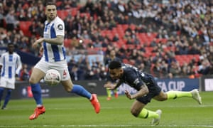 Manchester City's Gabriel Jesus heads in what turned out to be his side's winning goal against Brighton at Wembley.