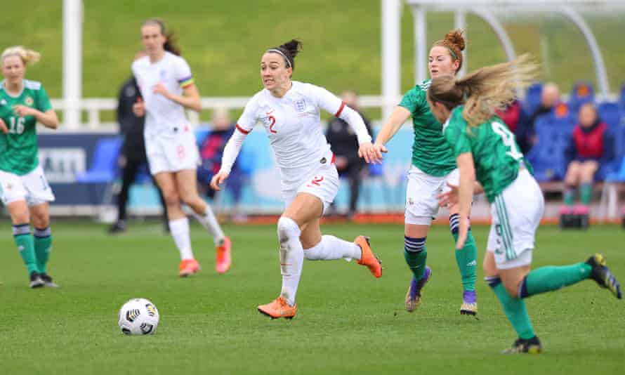 Lucy Bronze bursts away from Northern Ireland opponents during England's 6-0 win on Tuesday.
