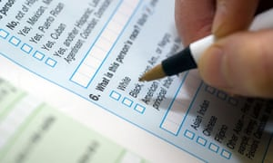 A sample US Census form is seen in New York.