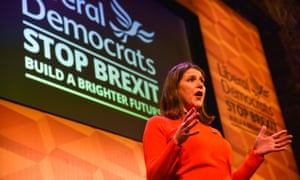 Campaigning in London, Lib Dem leader Jo Swinson knows 'that focusing their vitriol on Corbyn strengthens the position of Johnson'.