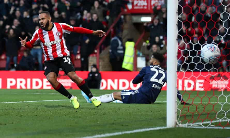 Bryan Mbeumo wheels away after scoring the only goal in Brentford's win over Fulham on Saturday.
