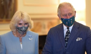 A photo from October 28, 2020, showing Britain's Prince Charles, Prince of Wales and Britain's Camilla, Duchess of Cornwall during a visit to the headquarters of the Bank of England in the City of London.