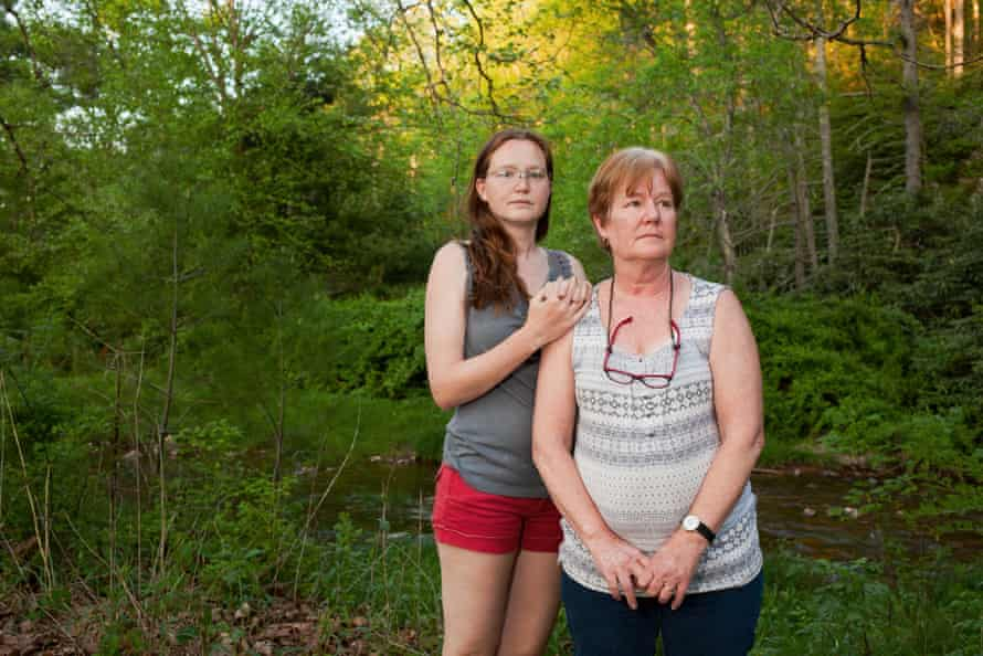 Bent Mountain, Virginia May 13 - Red and Minor, mother and daughter pipeline protesters, stand in front of Bottom Creek, one of the many pristine waterways they fought to save from the Mountain Valley Pipeline.