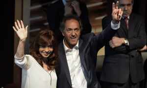 Cristina Fernández de Kirchner with her favoured candidate, and Buenos Aires governor, Daniel Scioli.