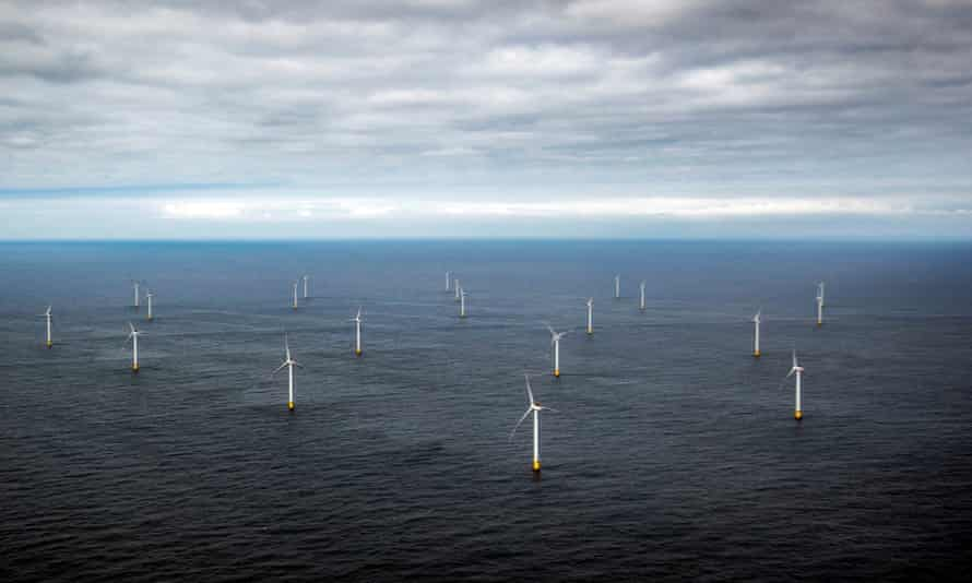 The Race Bank windfarm off the Norfolk and Lincolnshire coast of England, with 91 huge turbines.