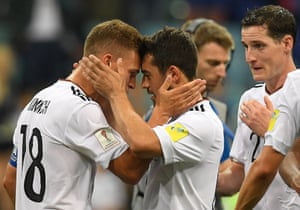 Kimmich celebrates Younes at the final whistle.