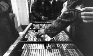 A Camden market-stall selling bootleg cassette tapes in the 1980s.