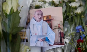 A memorial to murdered priest Jacques Hamel in Saint-Etienne-du-Rouvray, near Rouen, France