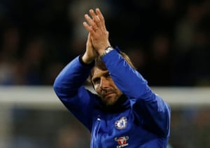 Conte applauds fans after the final whistle.