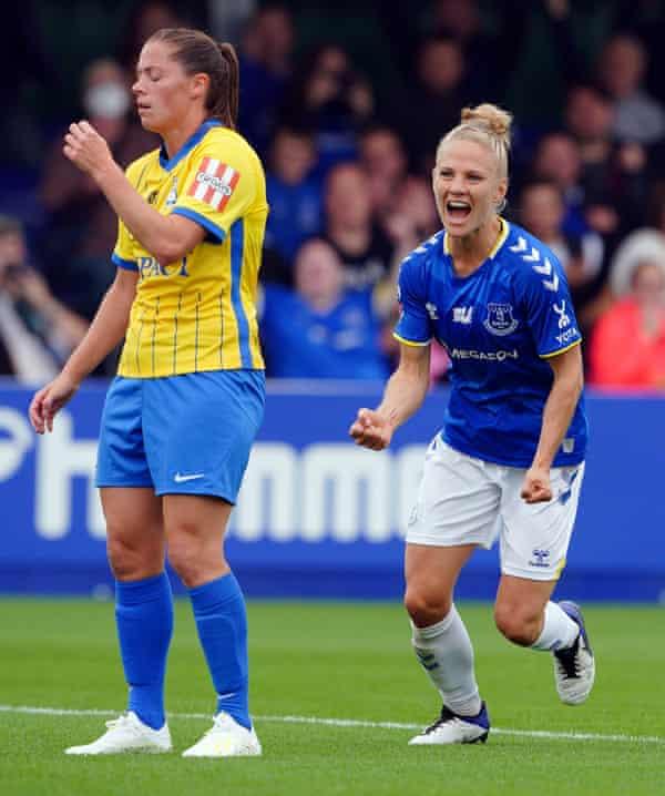 Everton's Leonie Maier (right) celebrates after scoring against Birmingham