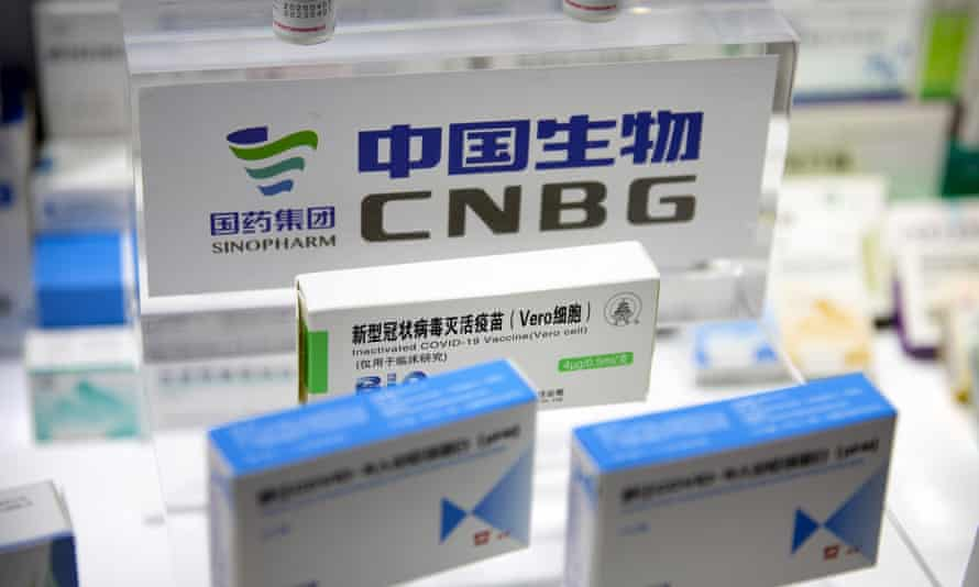Covid-19 vaccine packaging from Chinese pharmaceutical firm Sinopharm on display at a trade fair in Beijing on 5 September.