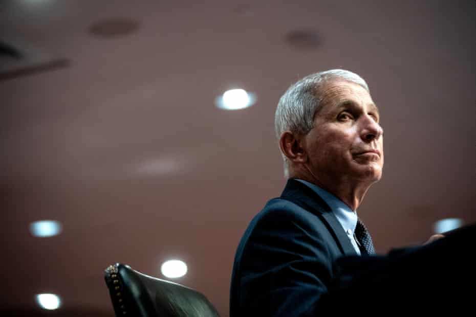 Fauci told the Guardian of America's healthcare workers: 'We rightfully refer to these people without hyperbole – that they are true heroes and heroines.'