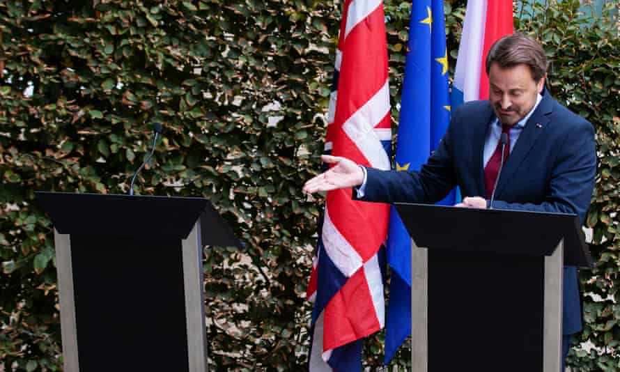 Xavier Bettel speaks to the media following talks with Boris Johnson
