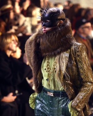 A model at the Gucci show in Milan
