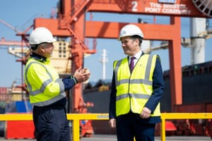 Keir Starmer (right) speaking to a worker today at the Royal Portbury Docks in Bristol.