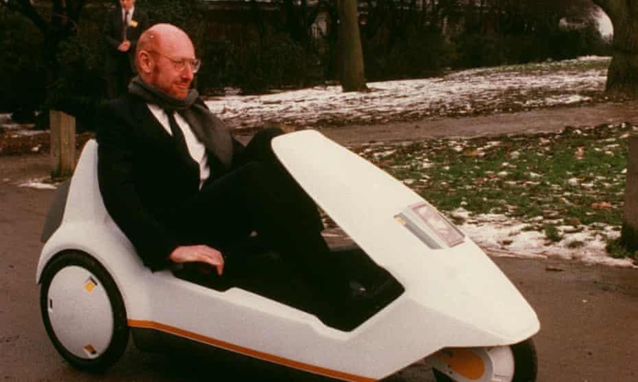 Sir Clive Sinclair in a C5