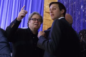 Steve Bannon and Jared Kushner on 11 January 2017.
