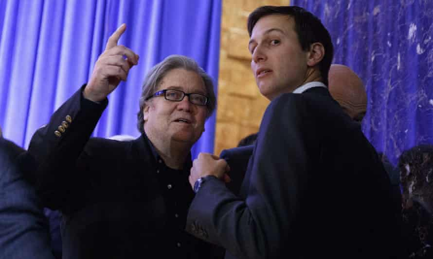 Steve Bannon and Jared Kushner in the wake of Trump's presidential victory last year. In the book, Wolff writes that Bannon said: 'The Kushner shit is greasy. They're going to go right through that.'