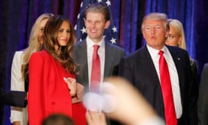 Donald Trump makes a face as he and his wife Melania and members of their family leave the stage at his caucus night rally in Des Moines, Iowa.
