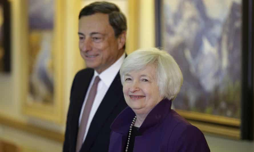 Janet Yellen and Mario Draghi at 2014's Jackson Hole event in Wyoming