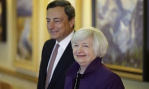 European Central Bank president, Mario Draghi, and Federal Reserve chair, Janet Yellen, in Jackson Hole in 2014.