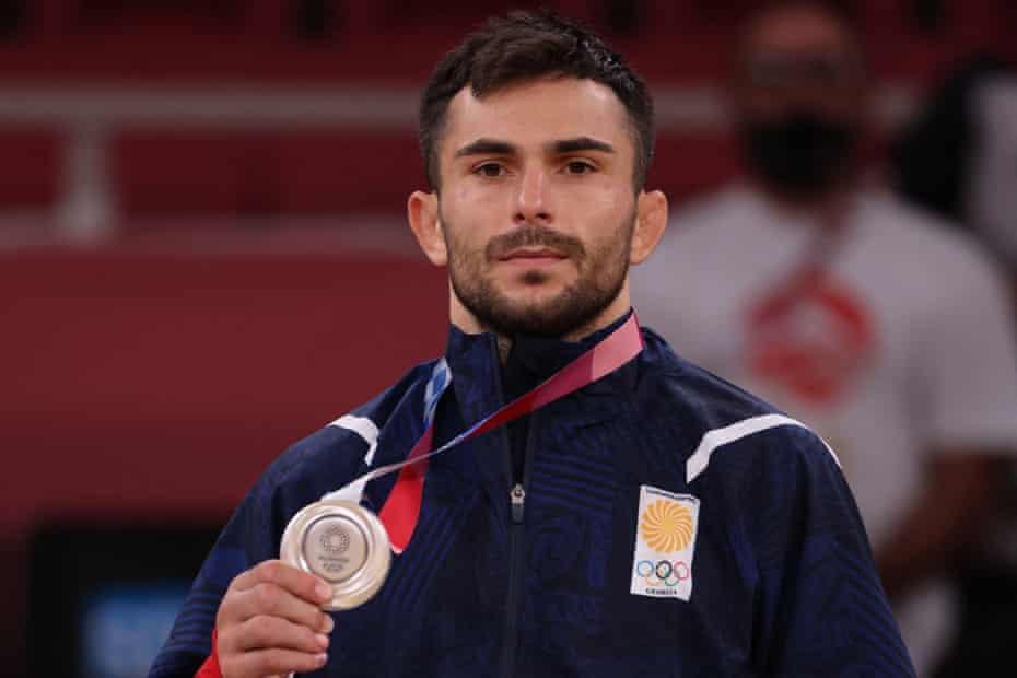 Georgia's Vazha Margvelashvili with his silver medal for the 66kg category