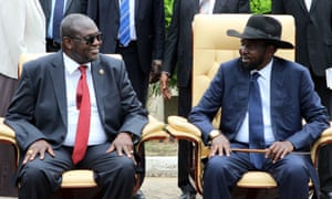 South Sudan president, Salva Kiir, right, and former rebel leader and now first vice-president Riek Machar attend a government ceremony in capital Juba.