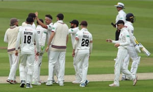 Yorkshire's Will Fraine walks off after being dismissed by Somerset's Jack Brooks at Headingley.