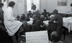 Students protest against Heidelberg University's dismissal of Dr Huber, 1970.