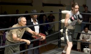Clint Eastwood (left), Morgan Freeman and Hilary Swank in Million Dollar Baby.