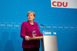 Chancellor Angela Merkel speaks during a press conference after a board meeting of the Christian Democratic Union party