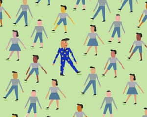 Illustration of people marching one way with one man in a suit with EU star pattern marching the other way