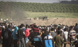 Israeli security forces confront Palestinians' 'Great March of Return' south of Gaza City