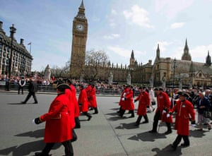 Veterans attend an armed forces and veterans' parade on the final day of VE day commemorations in London in May.